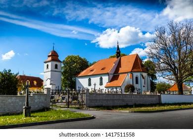 Church of st. Prokop near Temelin in summer day. Czech Republic.