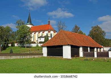 The Church of St Simon and Juda of Strazek. Strazek is a town lying southeast of Zdar nad Sazavou, about 10 km southwest of Bystrice nad Pernstejnem, Czech Republic