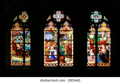 Church Stained-glass Window with religious scenes