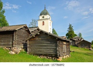 Church stalls and church tower in Dalarna in Sweden.
