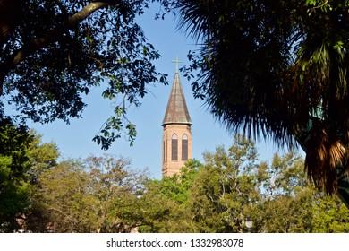 Church Steeple Seen from a Park