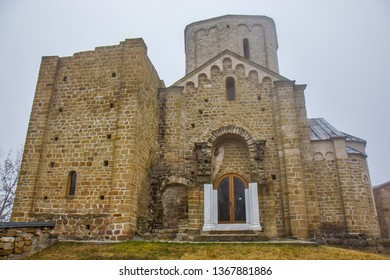 The church of St.George in the orthodox Djurdjevi Stupovi Monastery in Serbia. UNESCO World Heritage Site