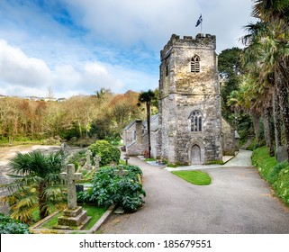 The Church at St-Just-in-Roseland, built in the 13th Century and perched on the edge of a tidal creek on the Roeseland Peninsula in Cornwall