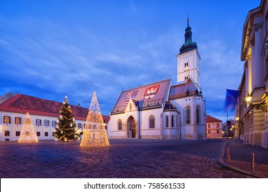 Church of St.Mark in St.Mark's square in upper town in Zagreb called Gornij Grad - historical part of Zagreb with middle age houses and churches.