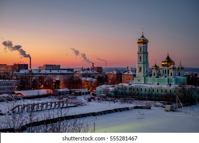 Church at sunset in winter. Perm, Russia.