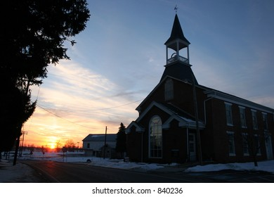 Church at sunset in York County, Pennsylvania.
