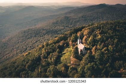 Church Sveta Ana in Ribnica, Slovenia. Cerkev Sveta Ana v Ribnici. - Shutterstock ID 1205121343