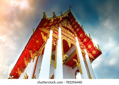 The church of the Thai people with blue sky with yellow culture, Buddhism, faith, beautiful faith.