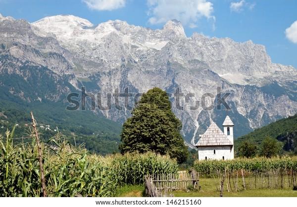 Church in Theth village, Prokletije mountains, Albania