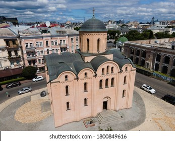 Church of the Tithes by day. Aerial. Kyiv. Ukraine