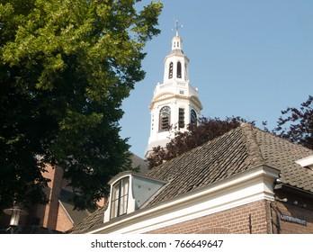 Church tower in the city of Nijkerk, Gelderland, Holland, NLD