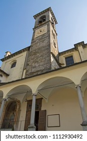 Church tower of the Collegiata  in Varallo Sesia, Piedmont, Italy