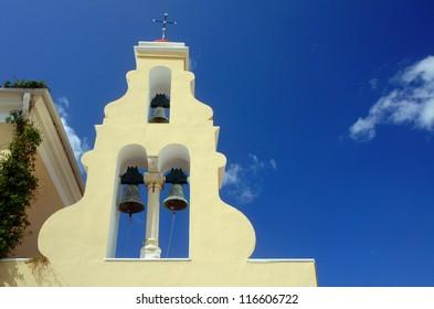 church tower in Corfu island, Greece