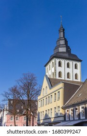 Church tower and houses in historic city Lippstadt, Germany