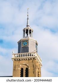 Church tower Jouster Toer of Hobbe van Baerdt Tsjerke church in city of Joure, Friesland, Netherlands