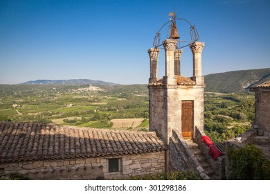Church tower of Lacoste, a small village in Provence