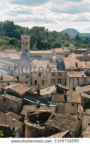 The church tower and rooftops of the medieval village of Viviers, Ardeche, France