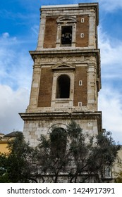 Church tower of Santa Clara Monastery in the Old Town of Naples, Italy
