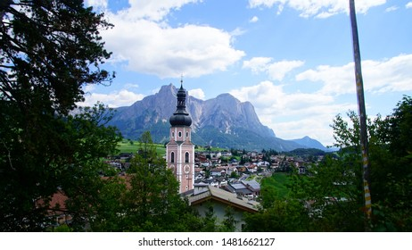 Church tower of the town of Castelrotto , Kastelruth, Italy