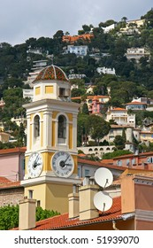 Church tower in Villefranche Sur Mer, France