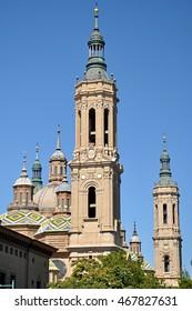 Church towers El Pilar , Zaragoza, Spain