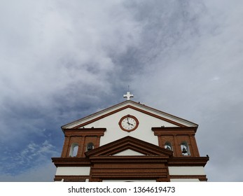 Church in town of Colombia. Tower and bell tower seen from below