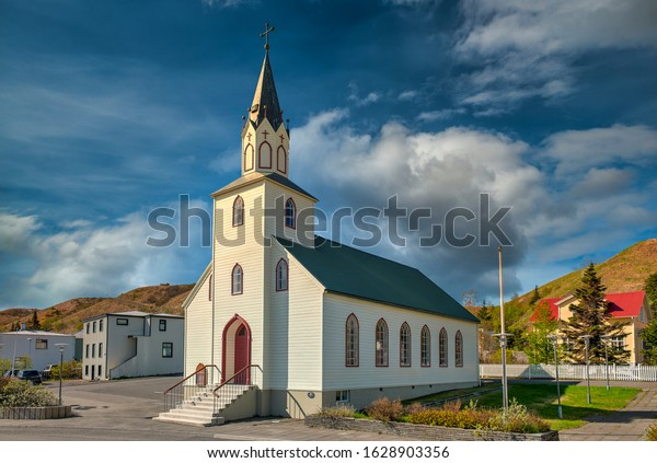 Sauðárkrókur Church. Sauðárkrókur is a town located in Iceland. As well as the largest city in northwest Iceland in general.