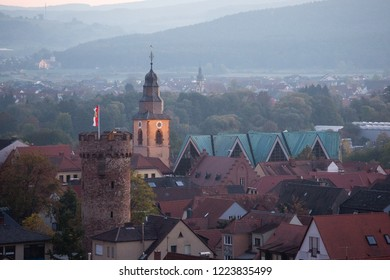 Church and townhall of Obernburg am main during dusk