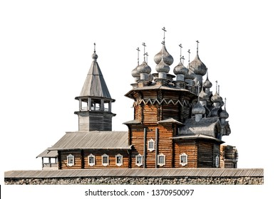 The Church of the Transfiguration (Kizhi Island, Russia) isolated on white background. The church has 22 domes and with a height of 37 meters is one of the tallest wooden buildings in Northern Europe.