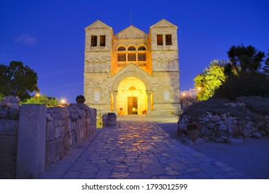 Church of Transfiguration at Mount Tabor, Israel.  Mount Tabor, rising dome-like from the Plain of Jezreel, is the mountain where Christian tradition places the Transfiguration of Jesus.