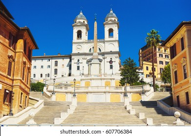 The church of Trinita dei Monti at the Spanish Steps (Piazza di Spagna)