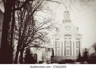 Church ?n Trinity Sergius Lavra, Sergiev Posad, Russia. UNESCO World Heritage Site.