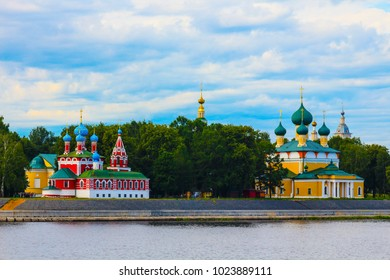 The church of Tsarevitch Dmitry aka Dmitrij aka Dimitri on the Blood to the left and the Transfiguration Cathedral to the right, Uglich, Russia. View from the Volga river.