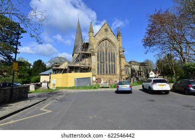 A church under repair in Horsham, West Sussex