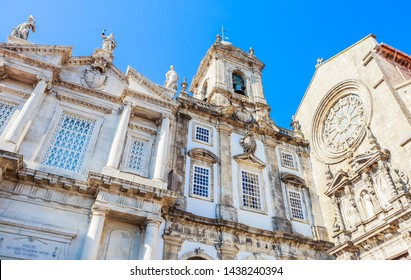 Church of the Venerable Third Order of St. Francis (left) and Church of Saint Francis (Igreja de Sao Francisco) in Porto city, Portugal.