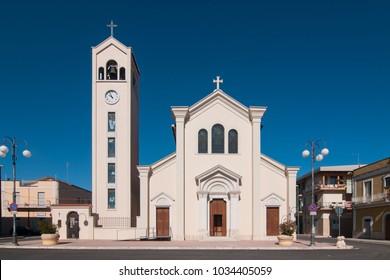 The church of the village of Poggiorsini, Italy. Poggiorsini was a feud of the Orsini family and it is the smallest city center in the metropolitan city of Bari.
