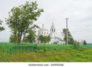 Church in the village, summer landscape, Syktyvkar region, Komi Republic, Russia