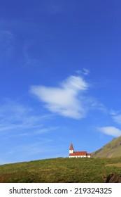 Church, village of Vik. Iceland
