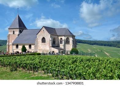 Church in Vineyard near Epernay,Champagne region,France