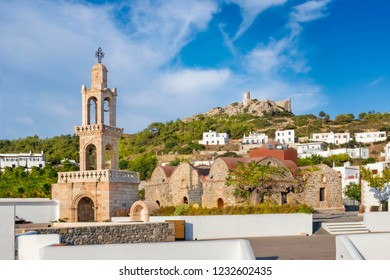 Church of Virgin Mary and Medieval Castle in village of Asklipio (Rhodes, Greece)