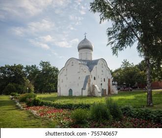 Church of Vlasy on Volosovaya street in Veliky Novgorod in the early morning - Shutterstock ID 755740657