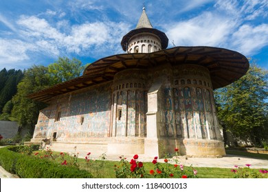 Church of Voronet Monastery is masterpiece of Bucovina painted churches