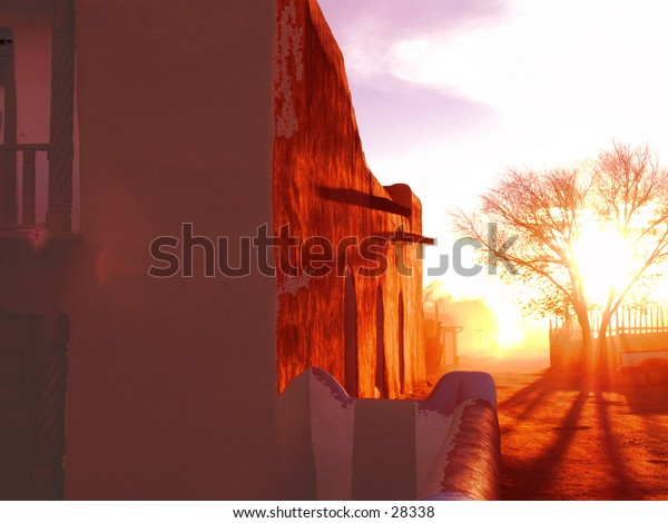 Church wall at dusk.