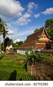 Church in Wat rajaburana, landmark in Phitsanulok province of Thailand