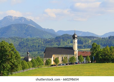 Church Wilparting in Bavaria on a sunny and cloudy day in summer