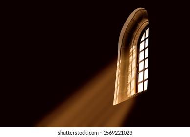 church window with sun rays