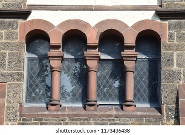 Church windows in neo romanesque style