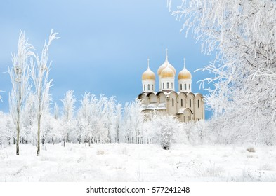 church in winter with trees and snow