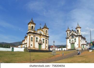 Churches of São Francisco de Assis (left) and Nossa Senhora do Carmo - Mariana - MG - Brazil
