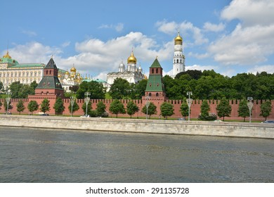 The Churches Of The Moscow Kremlin. View of the Moscow Kremlin from the Moscow river in the early summer.